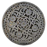 Indian Heritage Wooden Wall Panel 24×24 Carved Round MDF Mirror in Grey Distress finish For Sale