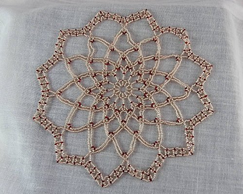 Beaded doily ecru and red