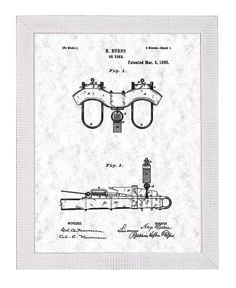 Amazon Com Ox Yoke Patent Art Green Print In A Distressed White