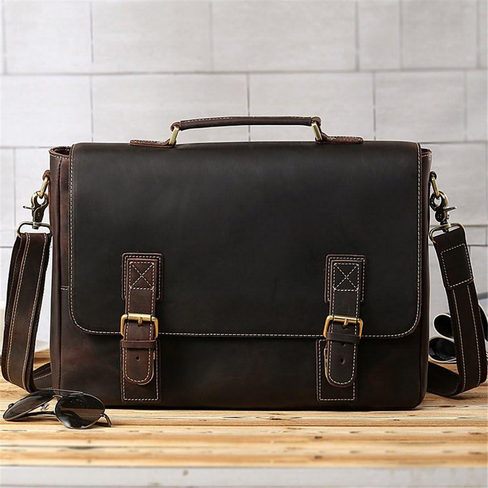 Balalafairy-bri Laptop Bag Office Portable Tote Bag Vintage Style Leather Business Briefcase 16 Netbook Tote Messenger Bag Tote for School Travel Men