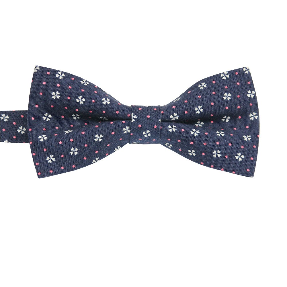 ST34 Brand New Navy Blue Floral Pre tied Tuxedo Bow tie For BOYS BB-1278