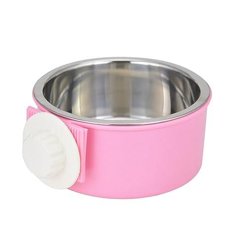 ShareWe Cuencos para Perro Gato Animal Mascotas Acero Inoxidable Platos 2 en 1 Colgando Cuenco Comedero para Gatos Perros Conejos Pequeño Animal ...