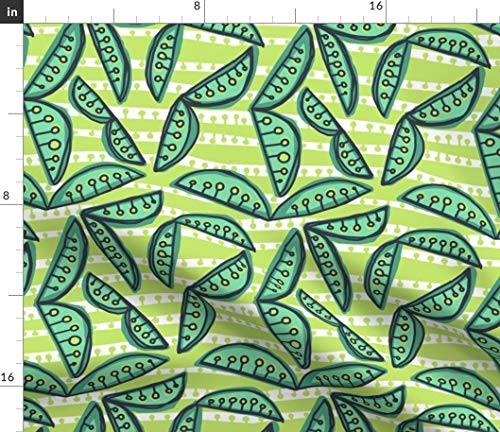 (Scandi Summer Peas Fabric - Sweet In Fresh + Dew [White + Celery For Stripe + Pea] Mod Seed Pod Pea Garden Print on Fabric by the Yard - Velvet for Upholstery Home Decor Bottomweight Apparel)