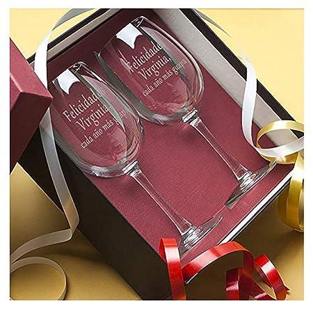 Calledelregalo Regalo Personalizable para cumpleaños de Mujer: Copas de Vino grabadas con el Texto Que tú Quieras