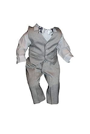 4tlg K13/3 Grau-Weiß Taufanzug Baby Junge Kinder Kind Taufe Anzug Hochzeit Anzüge Festanzug