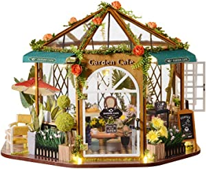 Flever Dollhouse Miniature DIY House Kit Creative Room with Furniture for Romantic Artwork Gift (Garden Cafe)
