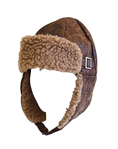 34a73512b30 Amazon.com  Aviator Pilot Cap Adult Hat Brown with Buckle  Sports ...
