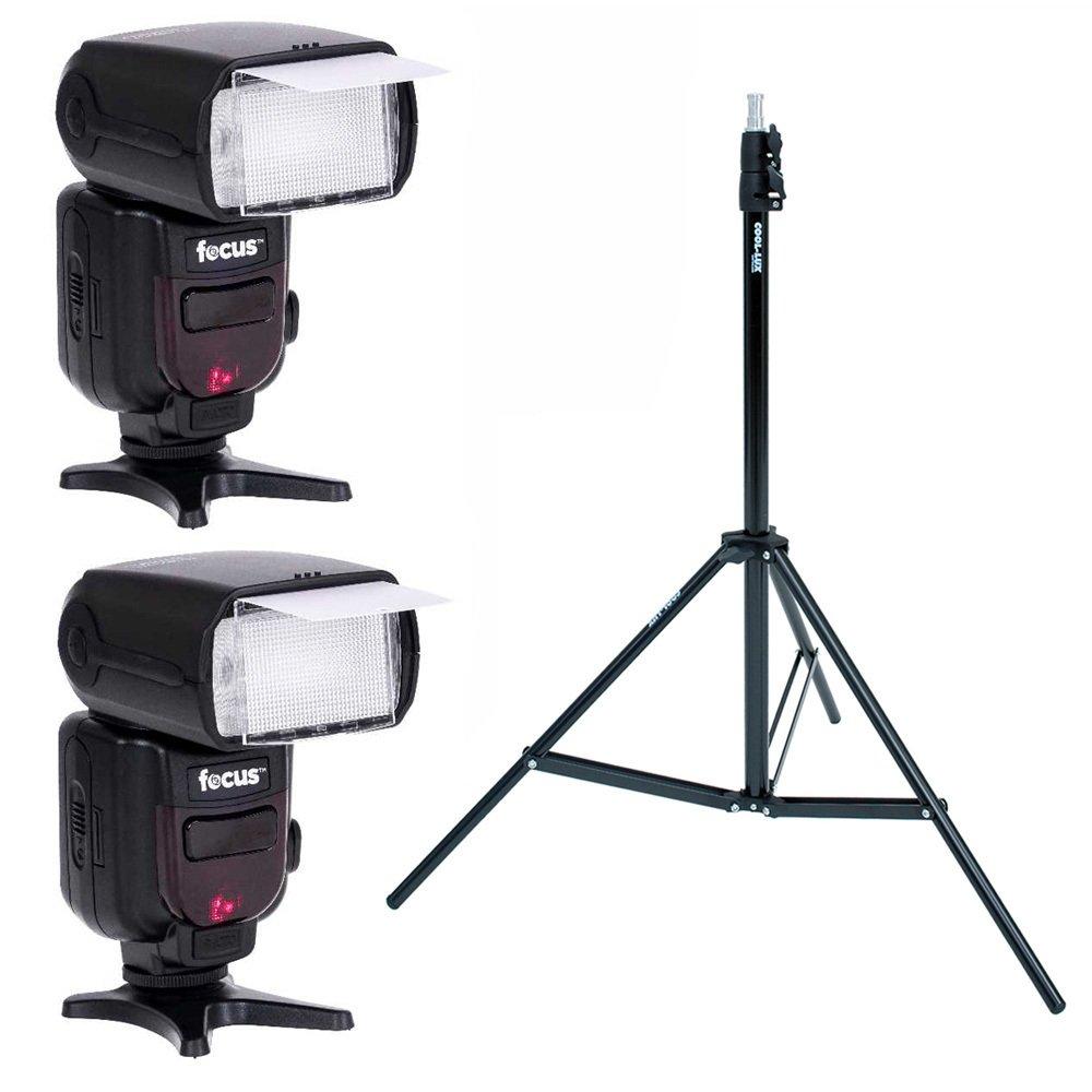 Focus Camera Professional Flash Kit for CANON DSLR OR NIKON DSLR Bundle with 2pcs TTL Flash & Wireless Trigger Slave Function + Light Stand