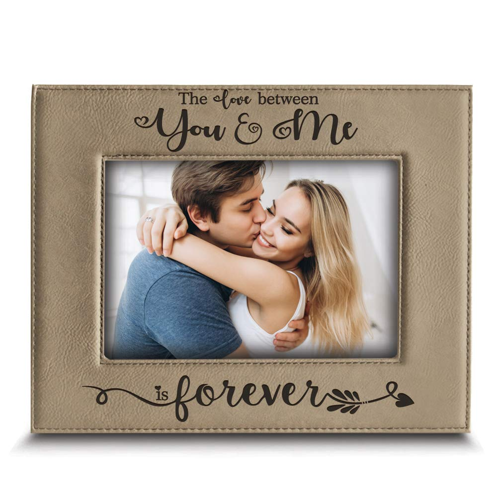 BELLA BUSTA- The Love Between You & Me is Forever for Wife, Husband -You and Me-Love-Engraved Leather Picture Frame (5'x 7' Vertical) Husband -You and Me-Love-Engraved Leather Picture Frame (5x 7 Vertical)