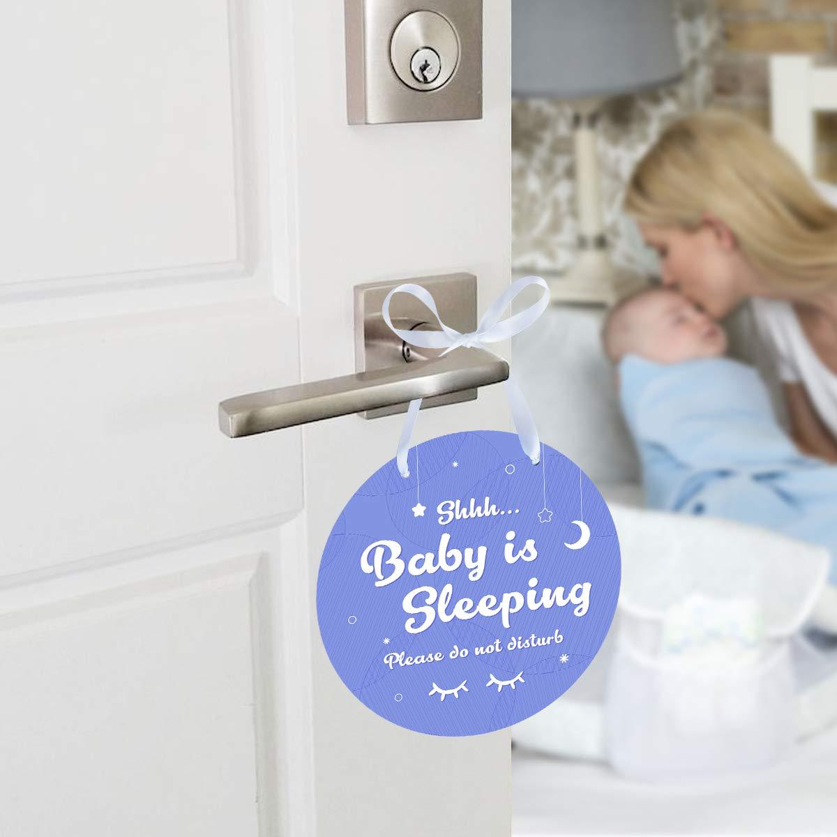 2 Pack Plastic Shhh Baby Sleeping Signs Baby Sleeping Door Hanger Signs Please Do Not Disturb Door Hanger Signs for Baby Sleeping Do Not Disturb Signs Magicfour Baby Sleeping Signs