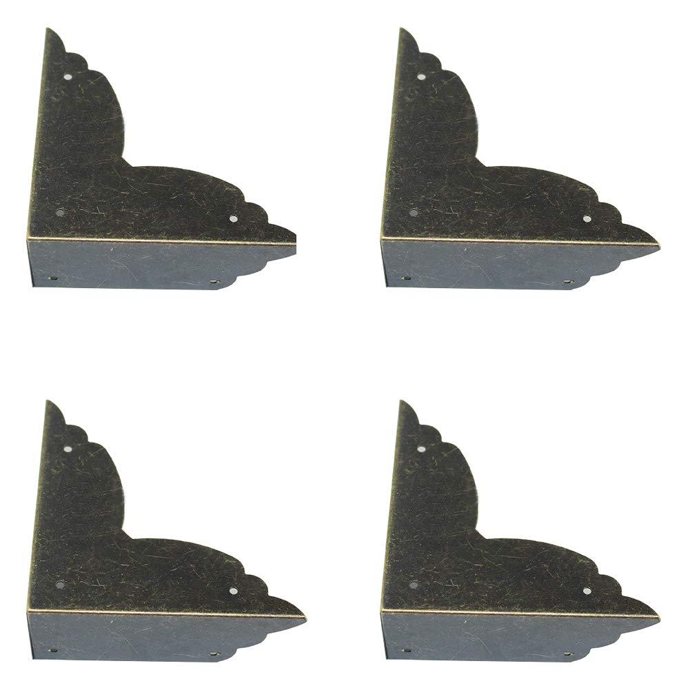 YES Time 8 Pieces 70x70x26mm/2.76'2.76'1.02' Antique Bronze Decorative Box Corner Covers Guards Desk Edge Protectors