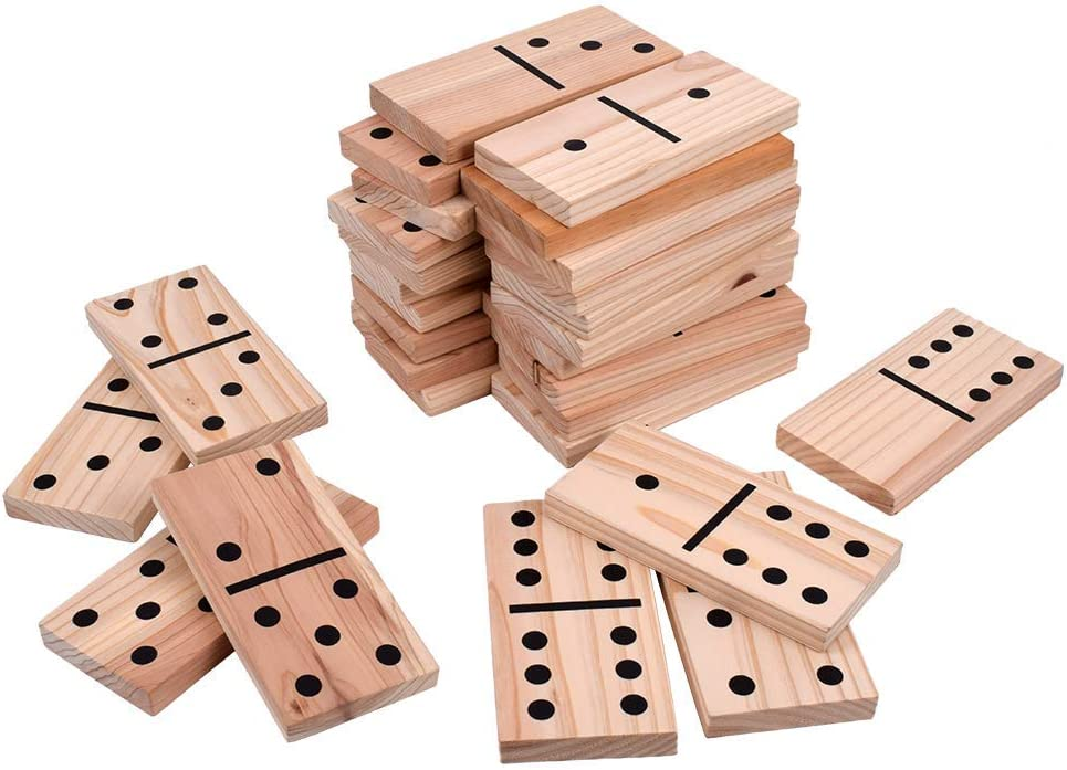 28 Pieces Giant Wooden Dominoes Game Jumbo Natural 5.9 X 2.95 Inches Wood Kids Adults Family Outdoor Lawn Yard Games