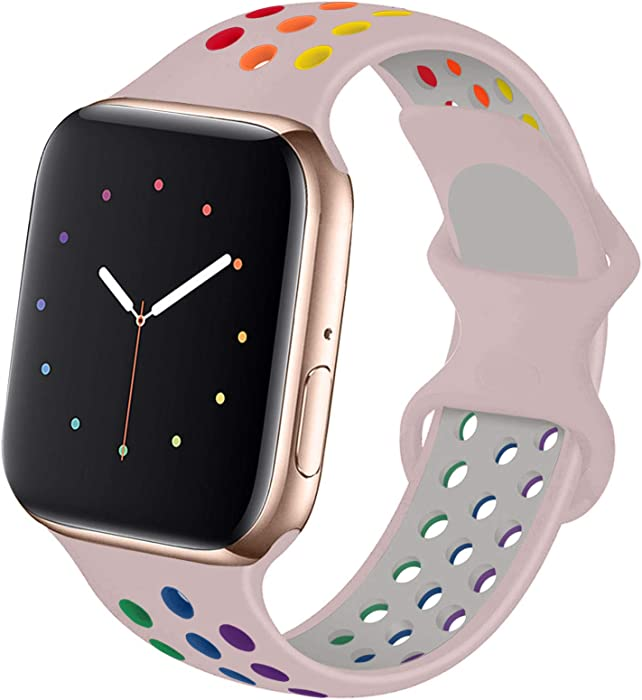 Hotflow Compatible with Apple Watch Band 38mm 40mm,Soft Silicone Sport Wristband for iWatch Series 6, Series 5, Series 4, Series 3, Series 2, Series 1,SE, S/M,Pink-Sand-Colorful