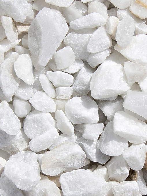 Grava blanca pura mármol. Marmolina blanca, piedra para decoración en jardín en sacas de 500kg. Disponible en formatos 9-12mm y 16-25mm. (9-12mm): Amazon.es: Jardín