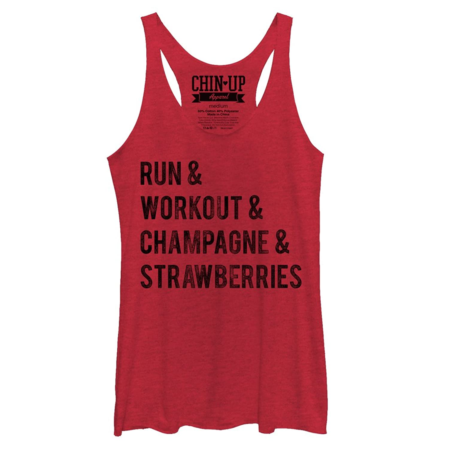 CHIN UP Champagne and Strawberries Womens Graphic Racerback Tank