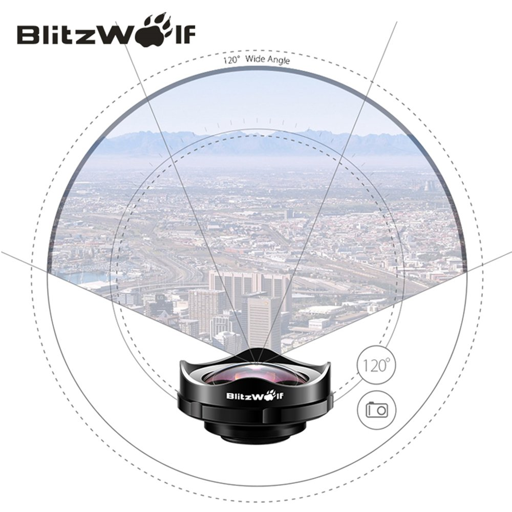 Clip-On Handy Objektiv, BlitzWolf 120 Grad Clip-On Weitwinkelobjektiv Professionell 4K HD Kamera Objektiv Adapter ür iPhone SE/7/7 Plus/6S Plus/6S/6/5S/5C/5, Samsung Galaxy S5/S6/S6 Edge, Note4/5, LG, HTC, Moto, Nexus, Sony Xperia