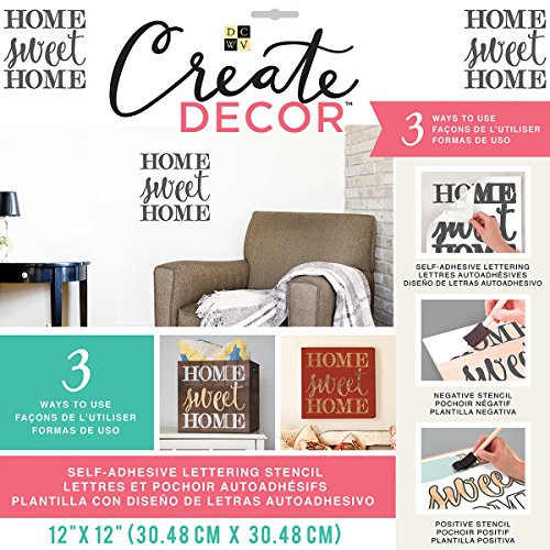 "GC5150-264 DCWV Create Decor Self-Adhesive Lettering & Stencil 12""X12""-Home Sweet Home-Gray"