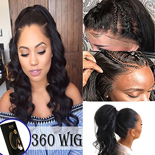 360 Lace Wig Brazilian Human Hair Body Wave 14 Inch Pre-Plucked with Baby Hair 360 Frontal Lace Human Hair Wigs for Black Women Natural (Wave Hair Wig)