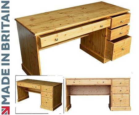 Escritorio de madera de pino maciza, gran estación de trabajo con ...