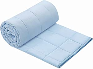 joybest Weighted Blanket 20 Lbs 80X87 King Queen Size Soft Comfortable Breathable 100% Cotton Heavy Blanket Washable with Glass Beads for Adult Man Woman Couples and King Queen Size Beds Light Blue