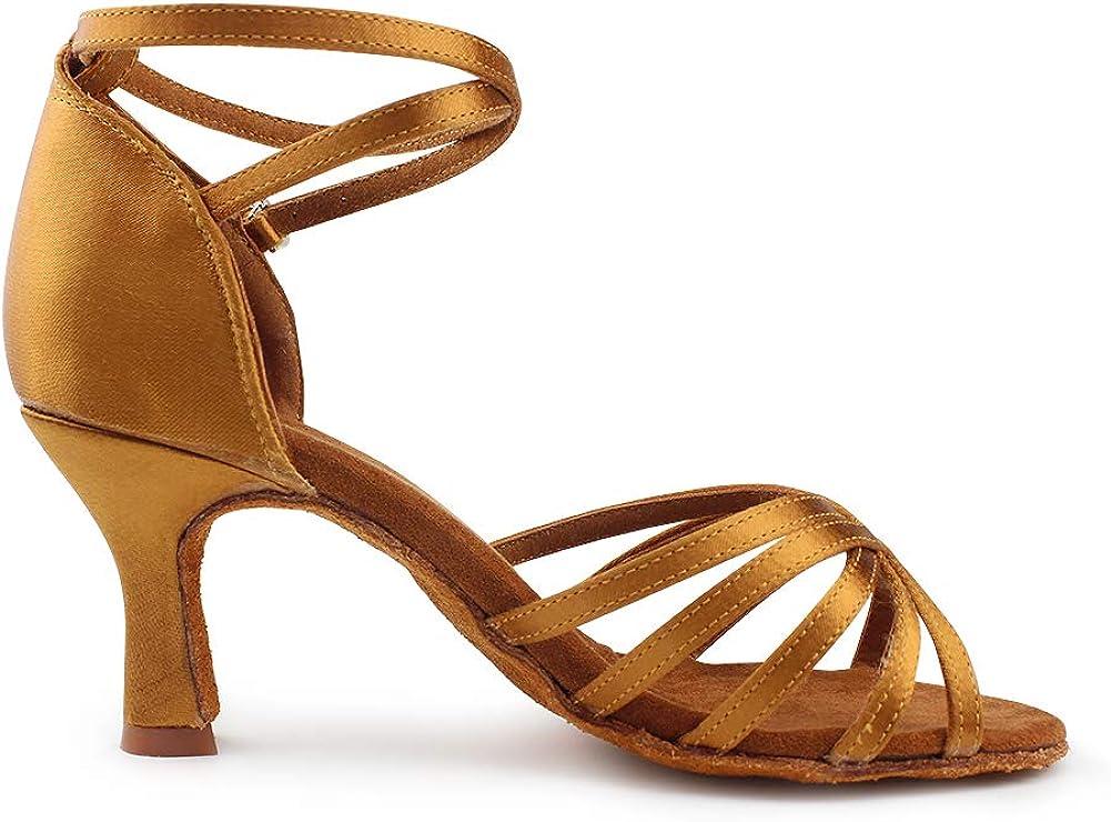 MSMAX Jazz Dancing Shoes Womens Mid Heel Latin Teaching Shoe
