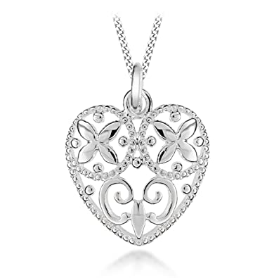 Tuscany silver sterling silver filigree heart pendant on adjustable tuscany silver sterling silver filigree heart pendant on adjustable curb chain necklace 41cm16 mozeypictures Image collections
