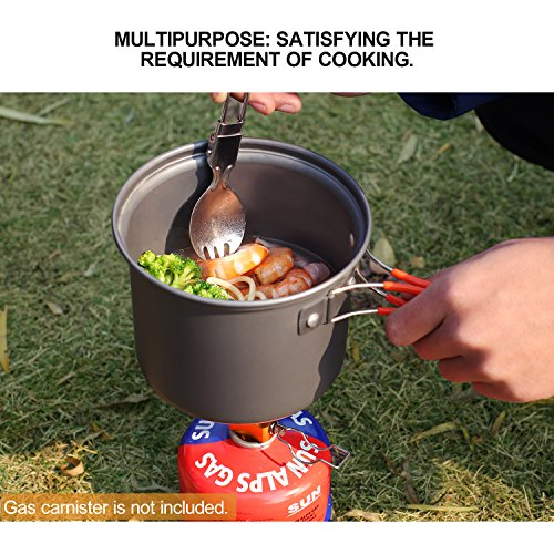 REDCAMP 5pcs Camping Cookware Mess Kit,800ml(28oz) for 1 Person Ultralight & Foldable Backpacking CookSet,Non-stick Free Sporks
