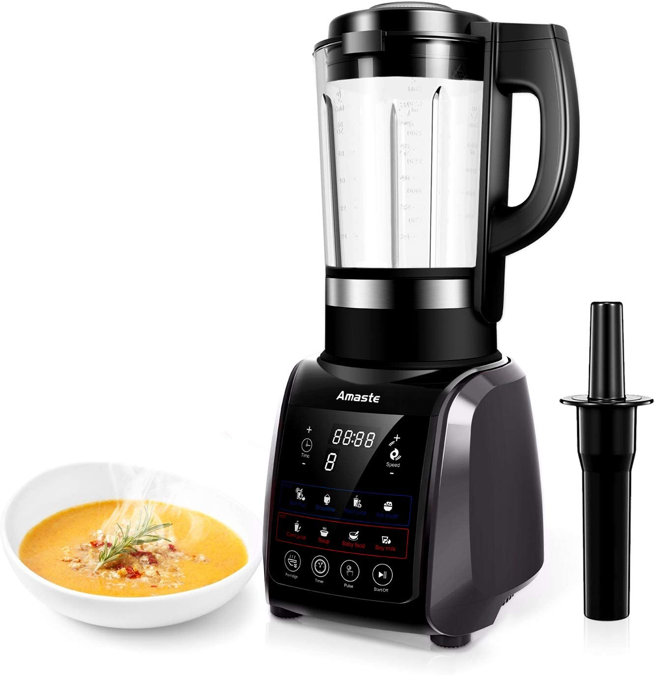 Amaste Blender, Professional High-Speed Countertop Blender with 1200W Base, 9 Pre-Programmed Settings, 64 oz Glass Jar for Family Soup, Smoothies, Grind, Shakes, Built-in Cold & Heat Function & Pulse with Timer, MR-01 Gray
