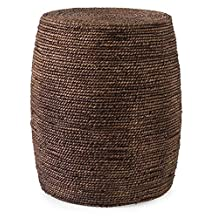 """19"""" African Inspired Woven Elm and Seagrass Warm Honey Brown Ottoman"""