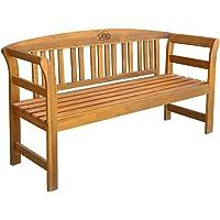 vidaXL Solid Acacia Wood Garden Bench Weather Resistant Slatted Design Outdoor Lounge Seat Backyard Armchairs Patio Furniture 157cm
