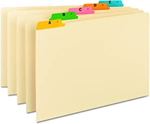 Smead Heavyweight File Guides, Multi-Colored Fused Poly 1/5-Cut Tab (A-Z), Legal Size, Manila, Set of 25 (52180)
