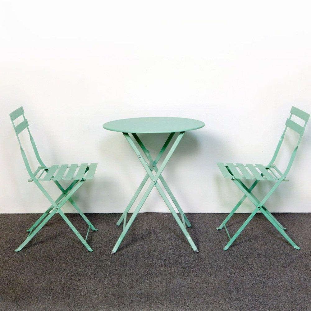 Amazon.com: GLJ Balcony Furniture Wrought Iron Three-Piece Outdoor ...