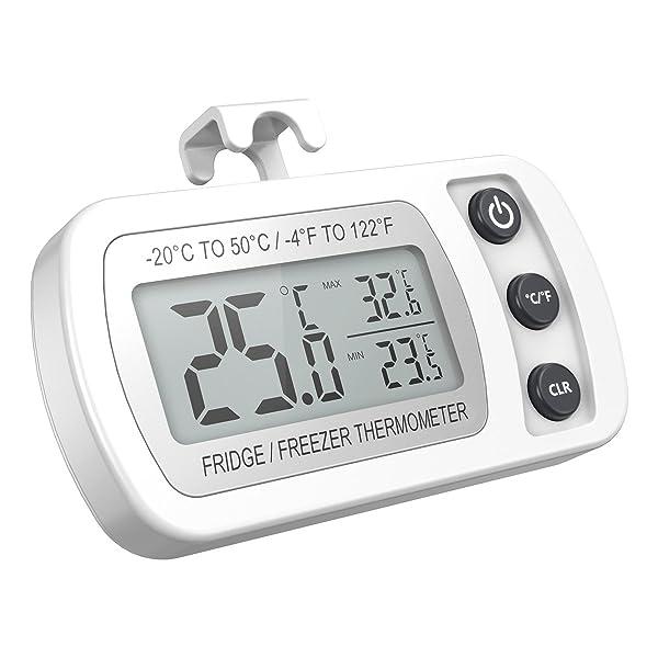 ORIA Digital Refrigerator Thermometer, Mini Freezer Thermometer, Refrigerator Freezer Waterproof, LCD Display, Max and Min Record, for Kitchen, Home, Restaurants, Bars, White