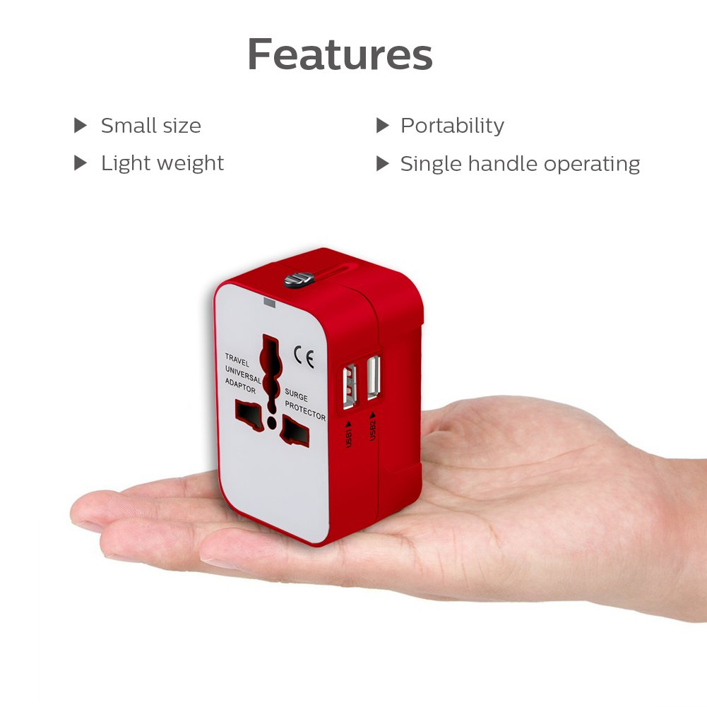 All in One International Universal Travel Adapter,Dual USB Charging Ports Converter for USA EU UK AUS European Compatible with Mobile Phone,Power Bank,Tablet,Laptop and Earphone. (Red) by LALAFO (Image #7)