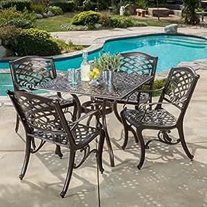 Odena al aire libre aluminio Patio juego de mesa y sillas de comedor