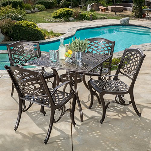 Christopher Knight Home 296593 Odena Outdoor Cast Aluminum Dining Set - 5 Piece Square Table and Patio Chairs Garden Furniture Set -