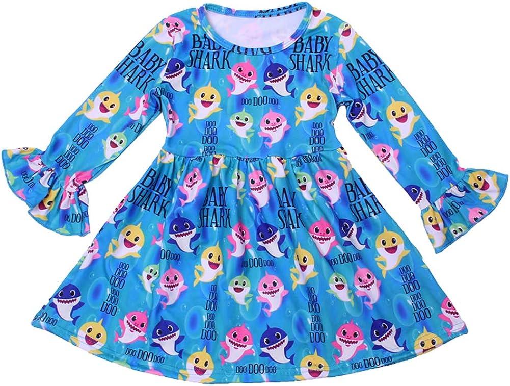 Girls Dress Colorful Baby Shark Print Long Ruffle Sleeve Blue Clothing Milksilk for Baby Girls
