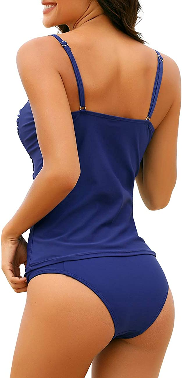 Utyful Womens Ruched Twist Front Solid Two-Piece Tankini Set Swimsuit with Brief