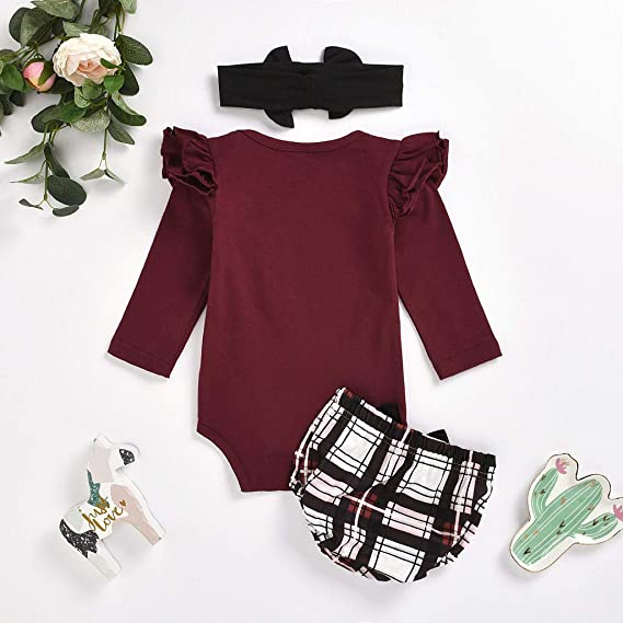 Herqw61 3pcs Baby Girl Clothes Set Cotton Romper Onesies Leopard Shorts Hairband Toddler Infant Pjamas