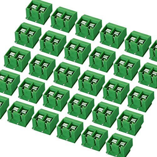 massmall 30Pieces 2 Pin 5mm Pitch PCB Mount Screw Terminal Block Connector 250V 8A(Green) (Pcb Terminal)
