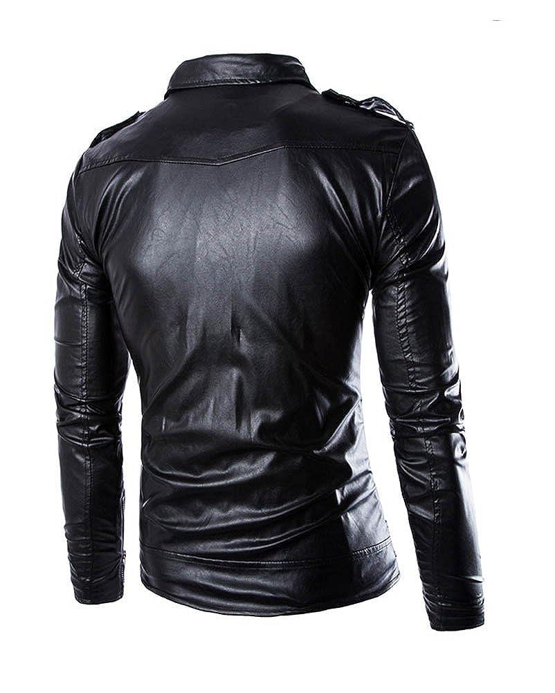 WSLCN Mens Fit Punk Zip Motorcycle Jacket Zip Up Faux Leather