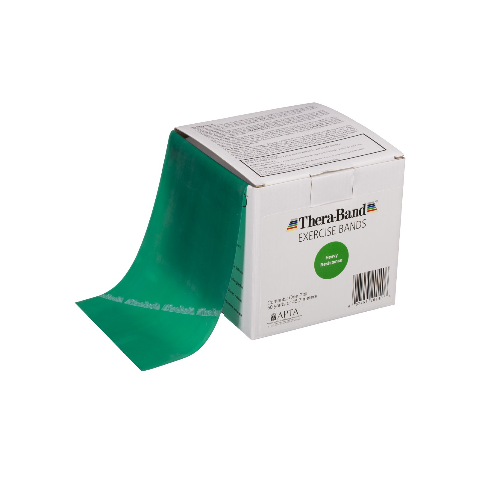 TheraBand Resistance Bands, 50 Yard Roll Professional Latex Elastic Band For Upper & Lower Body & Core Exercise, Physical Therapy, Pilates, At-Home Workout, & Rehab, Green, Heavy, Intermediate Level 1