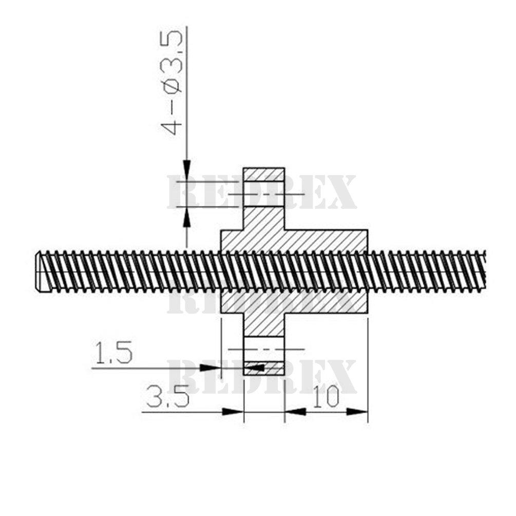 Redrex 300mm 4 Commencer T8 Conduire Vis et /écrou d/'axe Z Imprimante 3D de Prusa i3