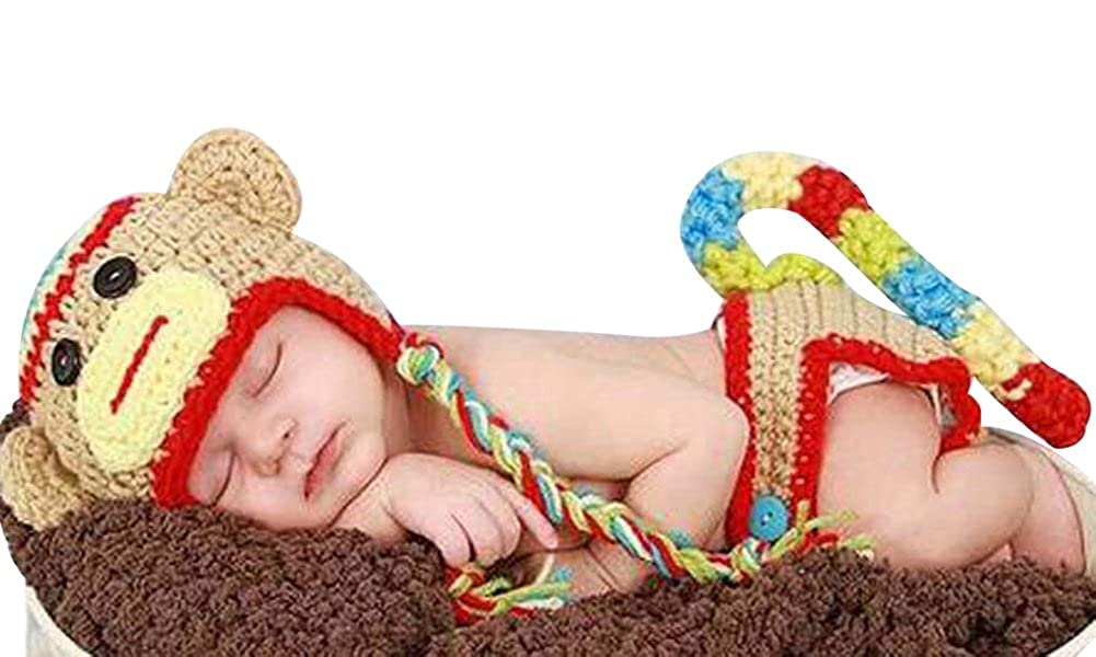 Newborn Baby Girl Boy Crochet Sock Monkey Hat Cape Beanie Diaper Cover Outfit Set Costume Photo Prop MrSleeper 3504