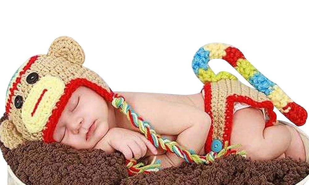 Newborn Baby Girl Boy Crochet Sock Monkey Hat Cape Beanie Diaper Cover Outfit Set Costume Photo Prop MrSleeper 3504