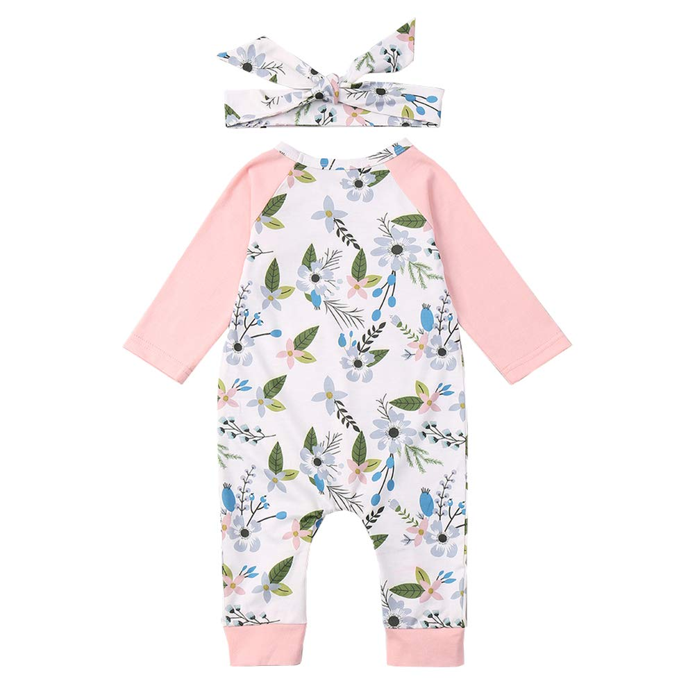 AIKSSOO Toddler Baby Girl 2pcs Floral Outfit Clothes Cotton Sleeper Pajamas Set