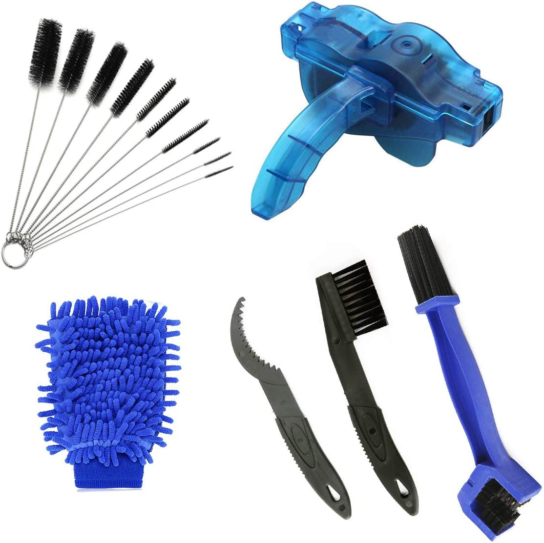 AHCSMRE Bike Chain Cleaning Brush Kit Bicycle MaintenanceWashing Tool Suitable for Mountain, Road, City, Hybrid,BMX Bike and Folding Bike