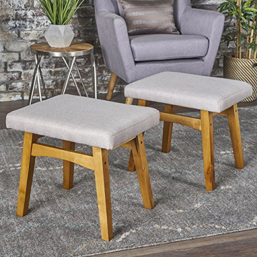 Analise Foot Stool Ottoman | Mid Century Modern, Danish Design | Upholstered in Wheat Fabric (Set of 2) by GDF Studio