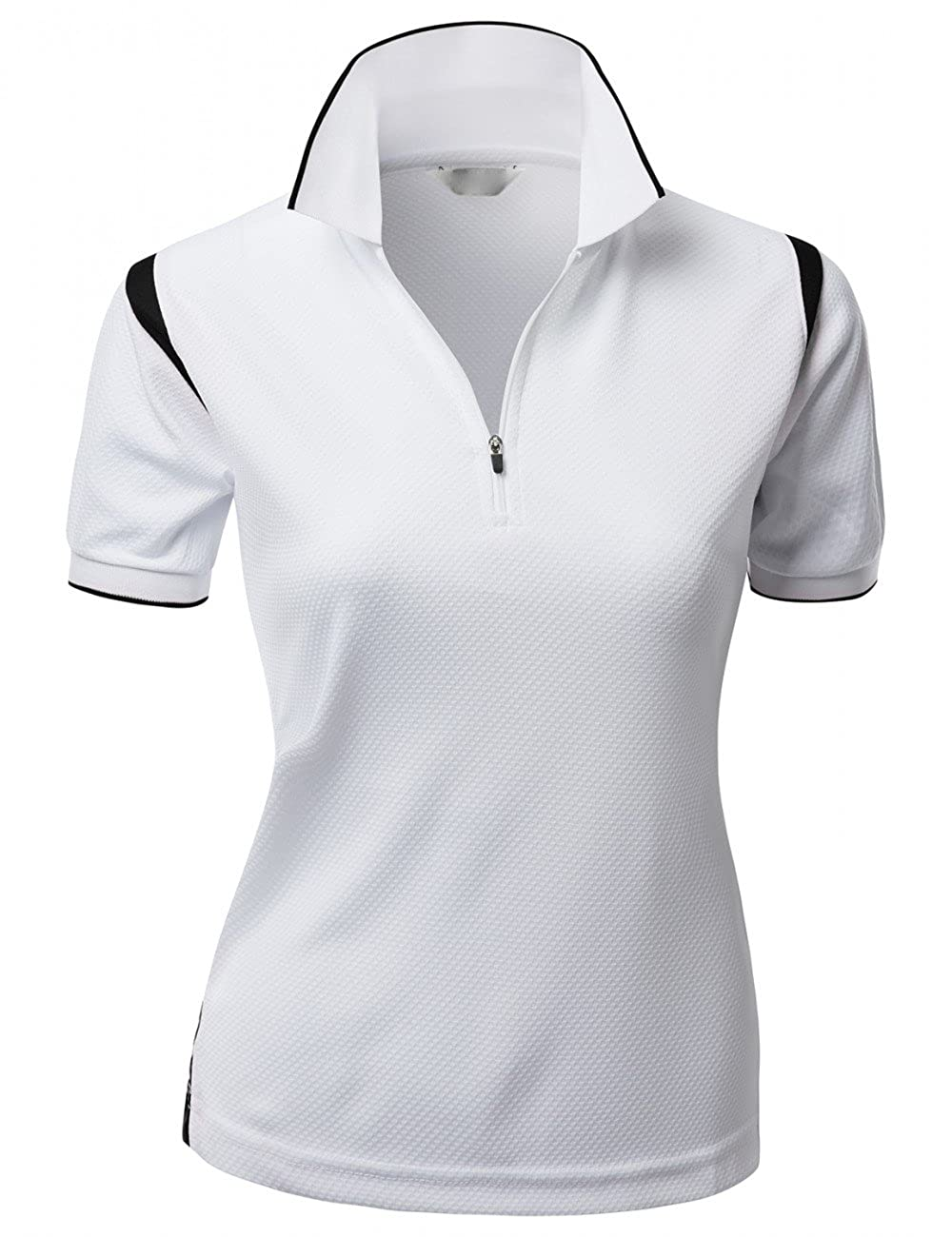 Women`s tank 2 tone led Zipup polo t-shirts