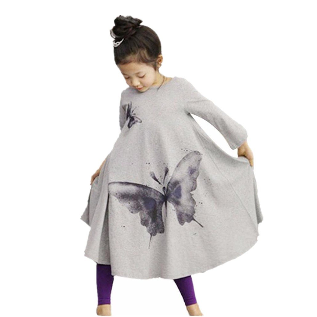 Clode® for 2-7 Years Old Girls, Kids Baby Girls Long Sleeve Butterfly Cotton Princess Trumpet Dress Fall Spring Dresses Clode-TS-0034
